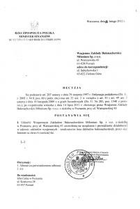 Skan decyzji Ministerstwa Finansów o przyznaniu koncesji bukmacherskiej dla Milenium