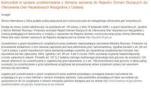screen komunikatu MF o nielegalności strony Unibetu