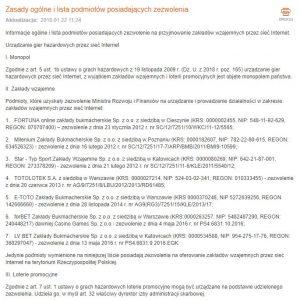 screen listy bukmacherów z licencją MF na organizowanie zakładów wzajemnych online