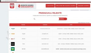 zrzut z rejestru domen zakazanych