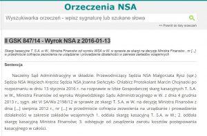 screen wyroku NSA z 13.01.2016 roku