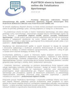 screen komunikatu Totalizatora Sportowego