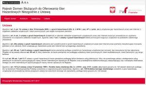 screen z listą sankcji MF