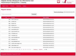 screen z rejestru domen zakazanych