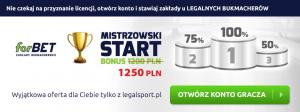 Graj bezpiecznie u legalnych firm bukmacherskich z licencją - odbierz 1250 zł na powitanie