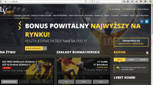 screen strony internetowej LVbet z guzikiem rejestracji
