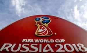 napis Fifa World Cup Russia 2018 na czerwonej kopule