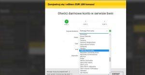 screen formularza rejestracyjnego bwin