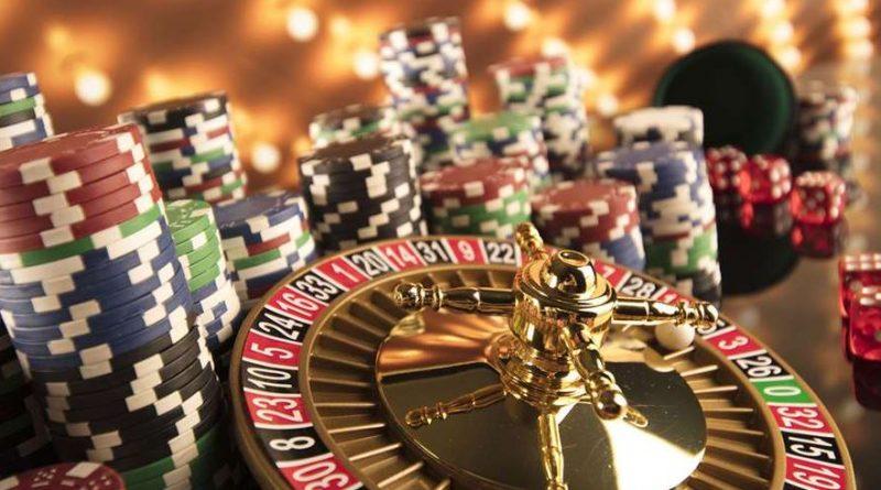ruletka, kości i żetony do pokera