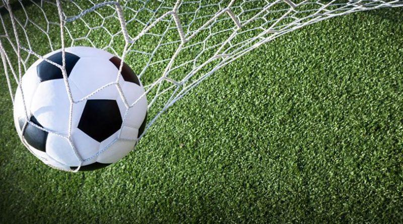 piłka wpadająca do bramki na tle murawy boiska futbolowego