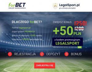 Oferta promocyjna firmy bukmacherskiej Forbet - 1250 zł dla nowych graczy tylko z kodem bonusowym LEGALSPORT