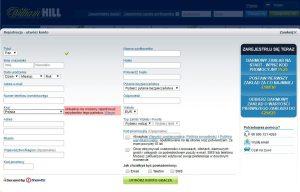 screen formularza rejestracyjnego William Hill