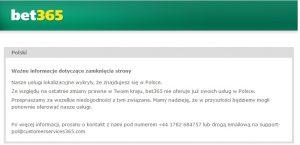 screen komunikatu ze strony bet365