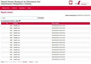 screen rejestru domen zakazanych z adresami 1xbet