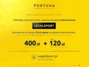 zdjęcie promocji powitalnej Fortuna Zakłady Bukmacherskie