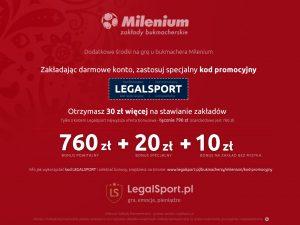 Kod bonusowy do bukmachera Milenium - 790 zł w bonusach powitalnych