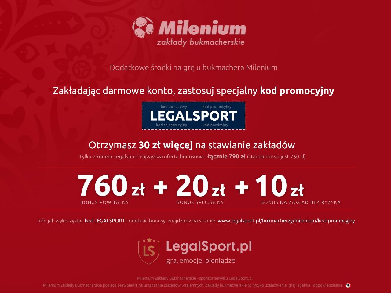 Kod bonusowy do bukmachera Milenium - 790 zl w bonusach powitalnych