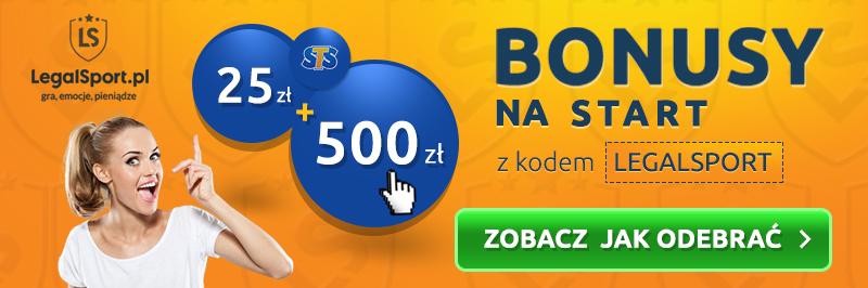 Bonus z kodem promocyjnym u bukmachera STS - 500 zł + 25 zł