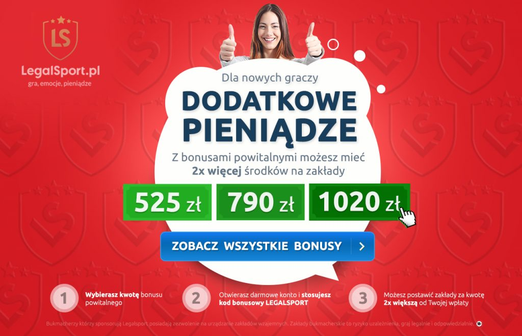 Kod bonusowy LEGALSPORT - bonusy na start u legalnych bukmacherów