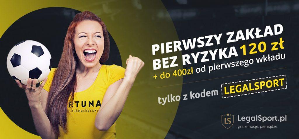 Fortuna Zakłady Bukmacherskie oferują najwyższe bonusy z kodem promocyjnym LEGALSPORT - 120 zł + 400 zł
