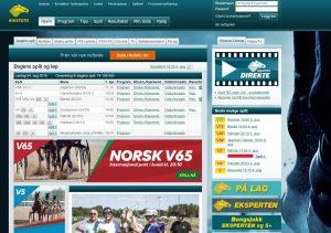Witryna internetowa legalnego norweskiego bukmachera Rikstoto