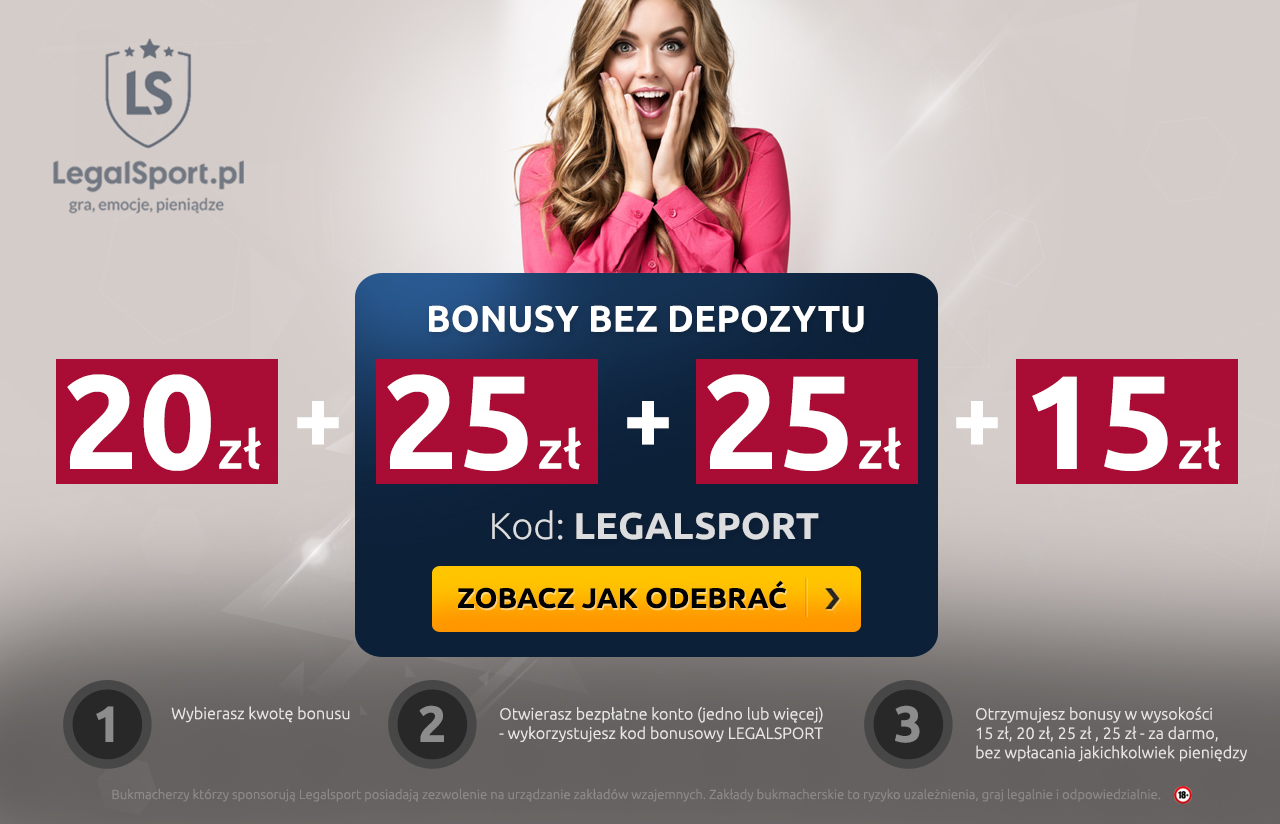 Kod bonusowy LEGALSPORT - wybierz freebet dla siebie