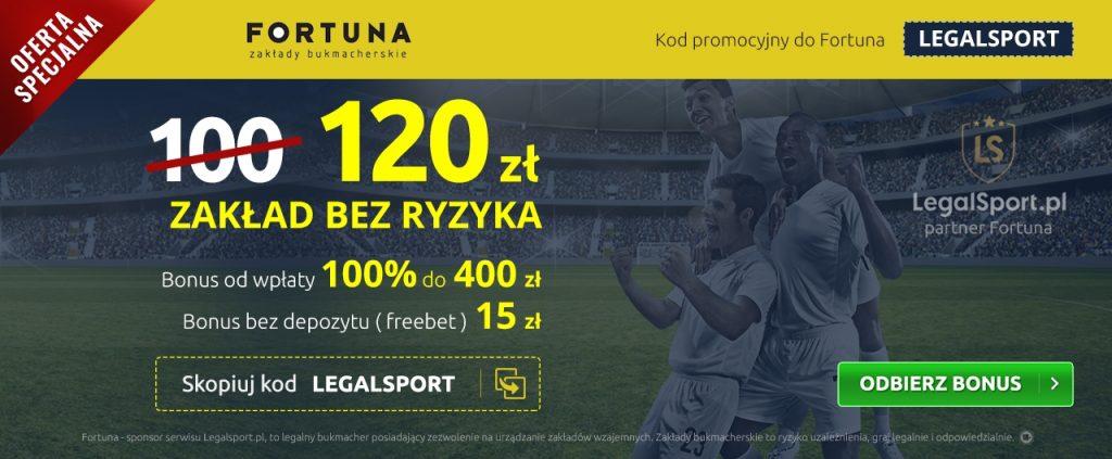 Zakład bez ryzyka aż 120 zł u bukmachera Fortuna