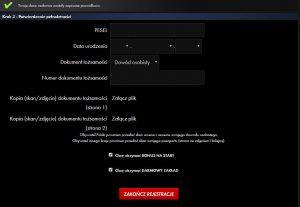 Jak założyć konto gracza u buka Milenium - trzeci krok rejestracji