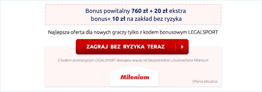Zgarnij 790 zł w bonusie powitalnym u bukmachera Milenium