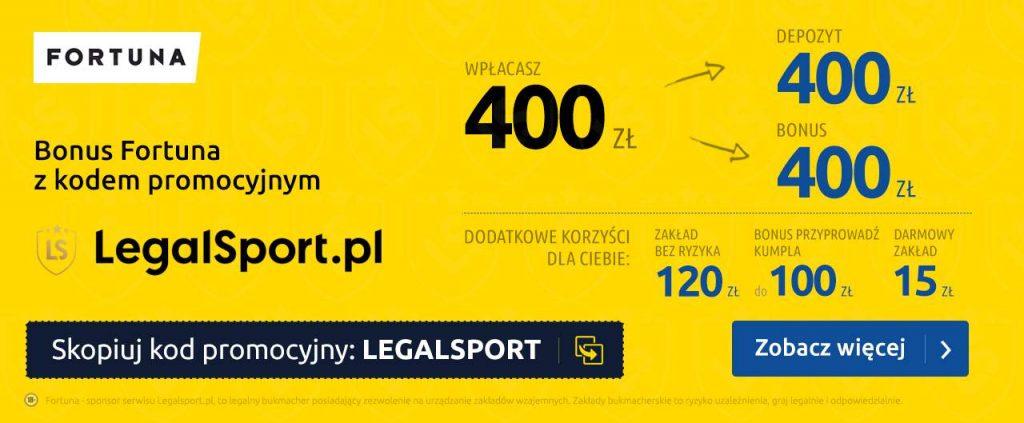 Odbierz najlepszy bonus na start w Fortunie z kodem LEGALSPORT